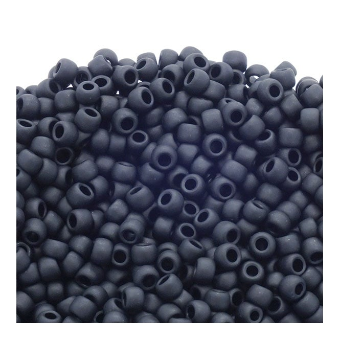 Seed Beads 6/0 - Opaque Frosted Jet - 10g