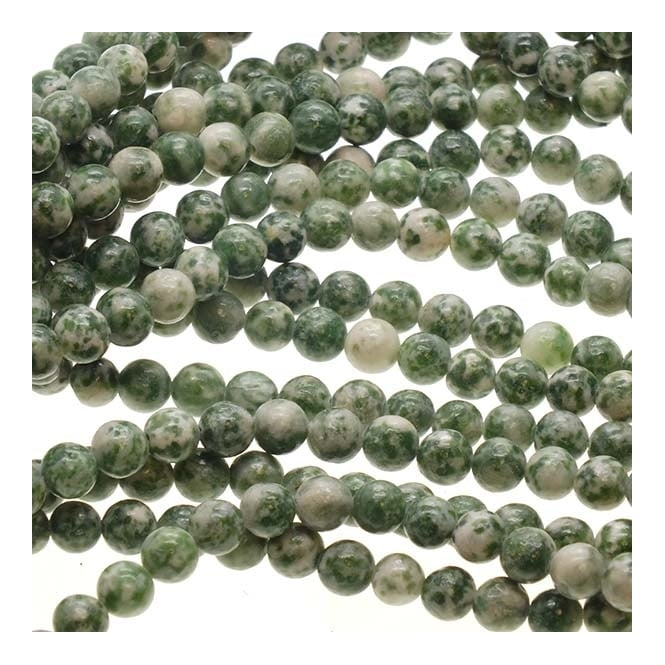 "Tree Agate Round Beads 6mm - 15.5"" Strand"