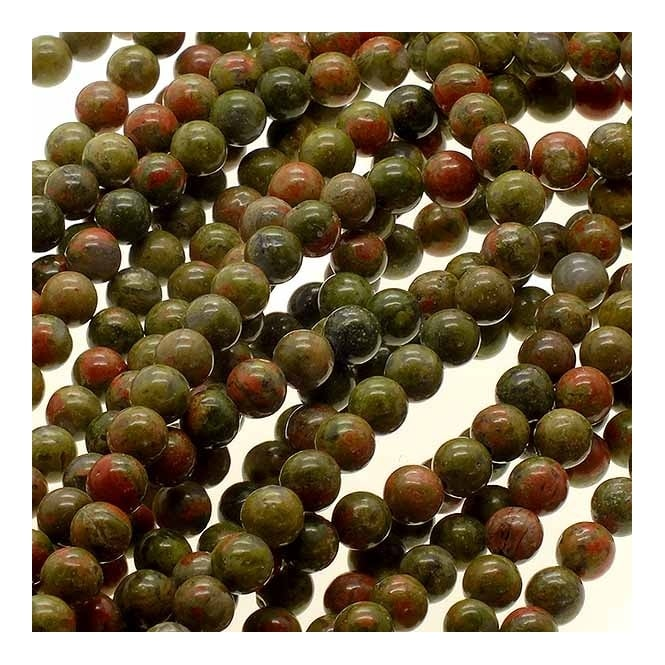 "Unakite Round Beads 4mm - 15.5"" Strand"