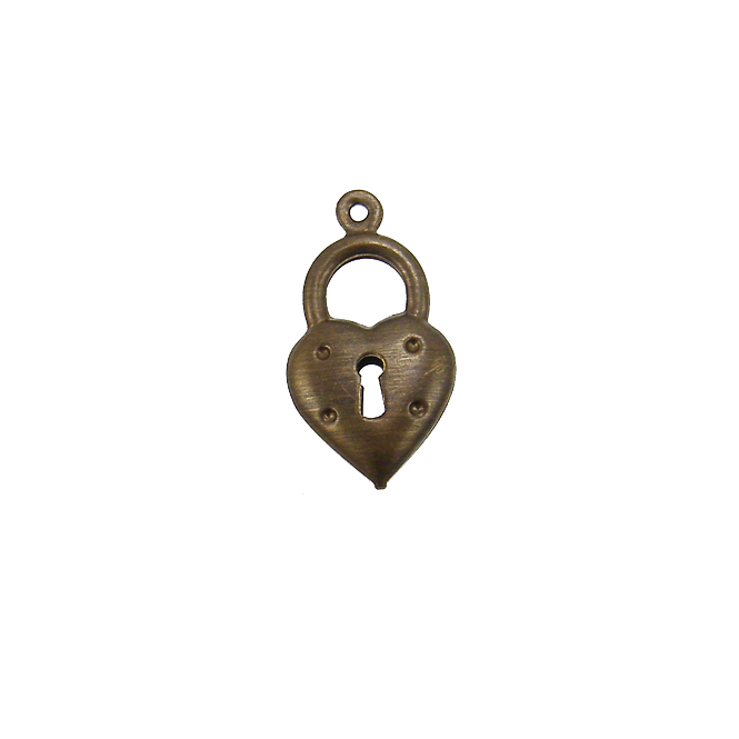 Natural Brass - 20x11mm Heart Double Sided Charm