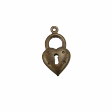 Vintaj Natural Brass - 20x11mm Heart Double Sided Charm