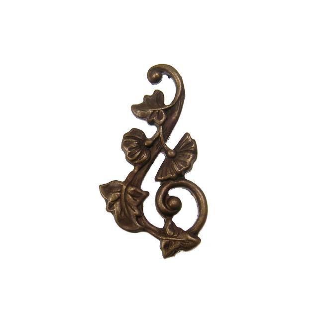 Vintaj Natural Brass - 27x15mm Deco Vines Swirling Right