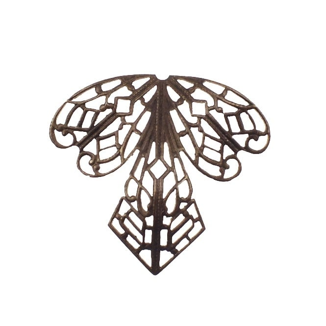 Natural Brass - 38x35mm Orchid Filigree