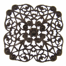 Vintaj Natural Brass - 59mm Full Poppy Filigree