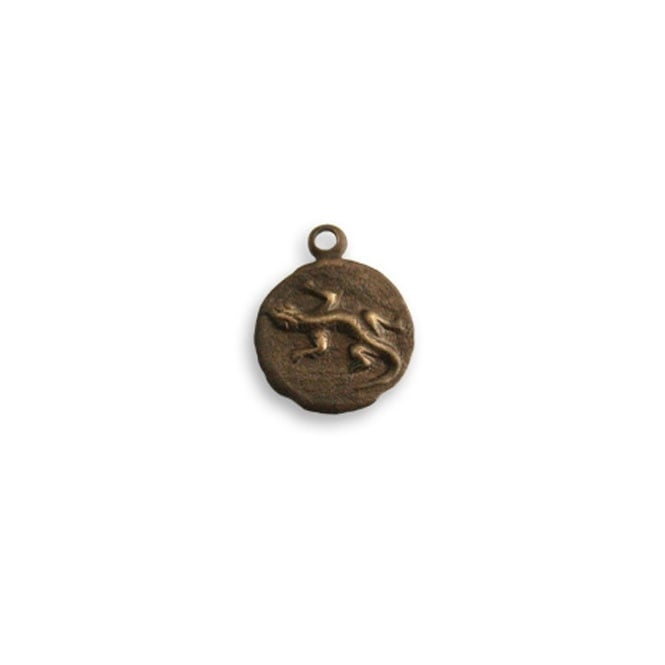 Natural Brass - 9.5mm Round Teensie Frog Charm