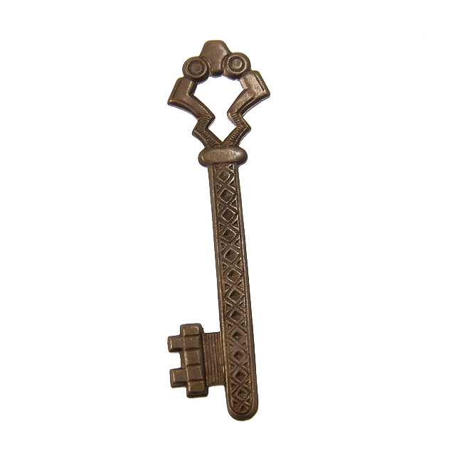 Natural Brass Pendant - 55x15mm Gate Key