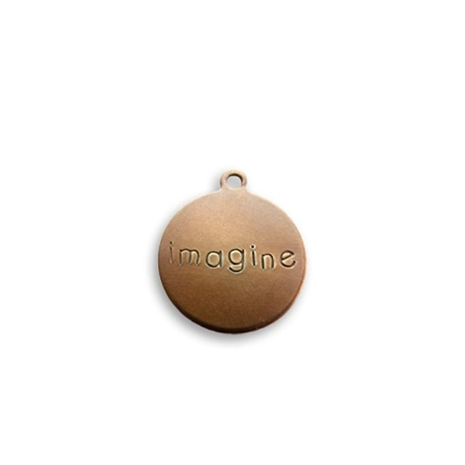 Vintaj Natural Brass - 12mm Rustic Round Charm - Imagine - 2pk