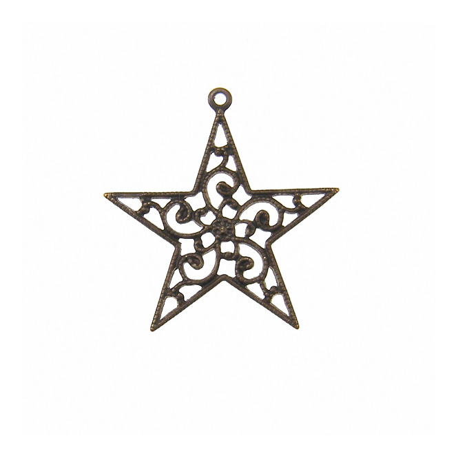 Natural Brass - 26x25mm Filigree Star Drop - Wrap - 1pk