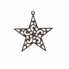 Vintaj Natural Brass - 26x25mm Filigree Star Drop - Wrap - 1pk