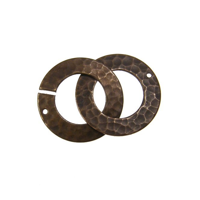 Natural Brass - 32x22mm Hammered Ring Clasp Set