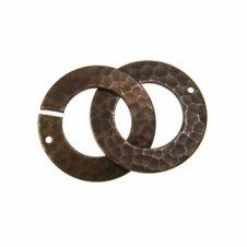 Vintaj Natural Brass - 32x22mm Hammered Ring Clasp Set
