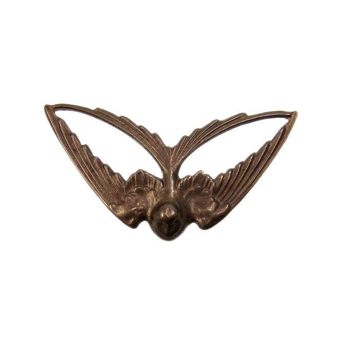 Natural Brass - 41x21mm Swooping Swallow - 1pk