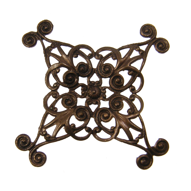Natural Brass - 44mm Diamond Swirl Filigree