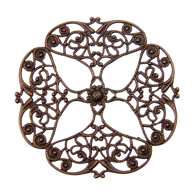 Natural Brass - 61mm Full Openwork Flower Filigree - 1pk