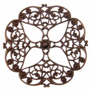 Vintaj Natural Brass - 61mm Full Openwork Flower Filigree - 1pk