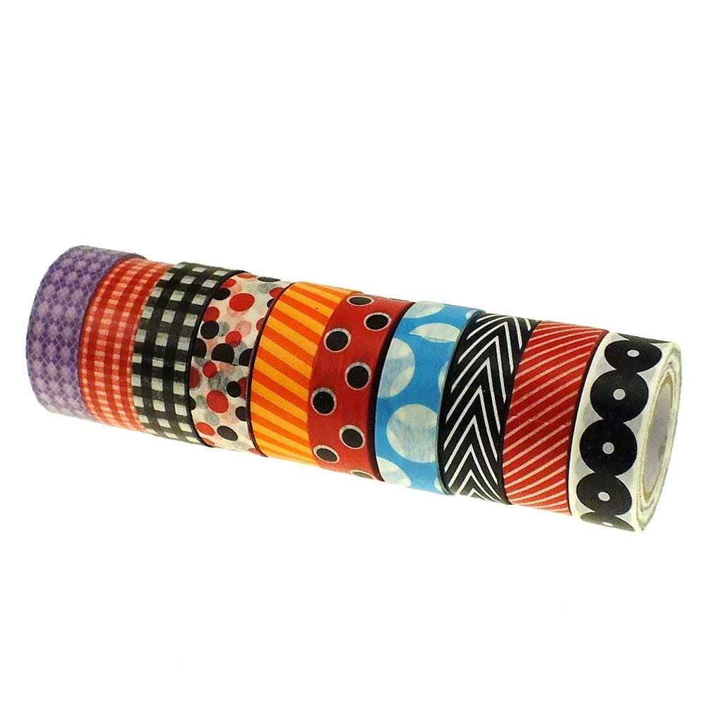 Washi tape mix geometric print 5 rolls for Geometric washi tape designs