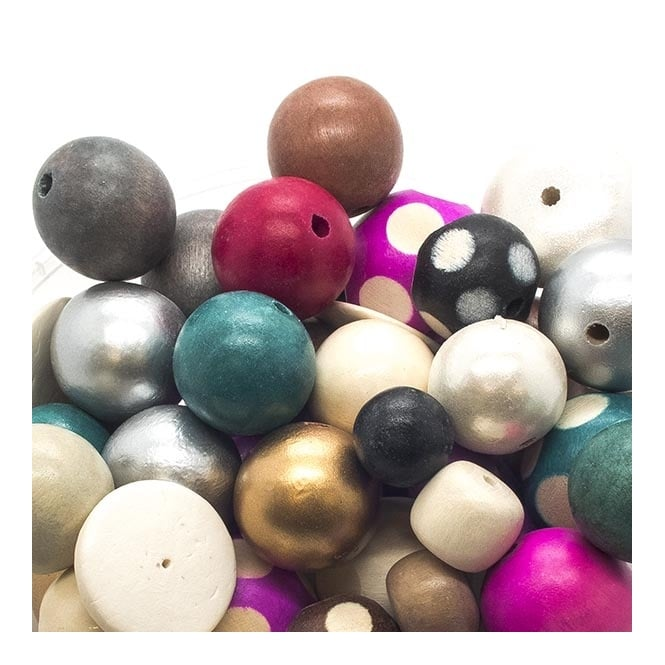 Wooden Beads Mix - Various Shapes And Sizes - 10 beads